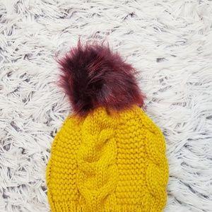 Express Accessories - NWT Express Yellow Chunky Knit Pom Pom Beanie